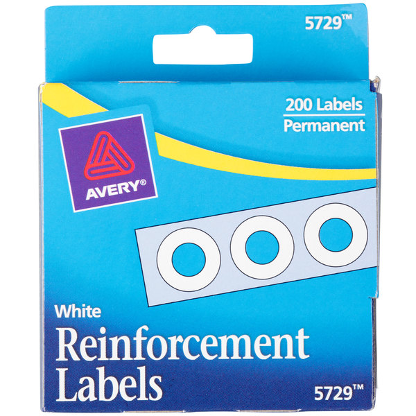 "avery 5729 1/4"" white hole reinforcement label with dispenser - 200/pack"