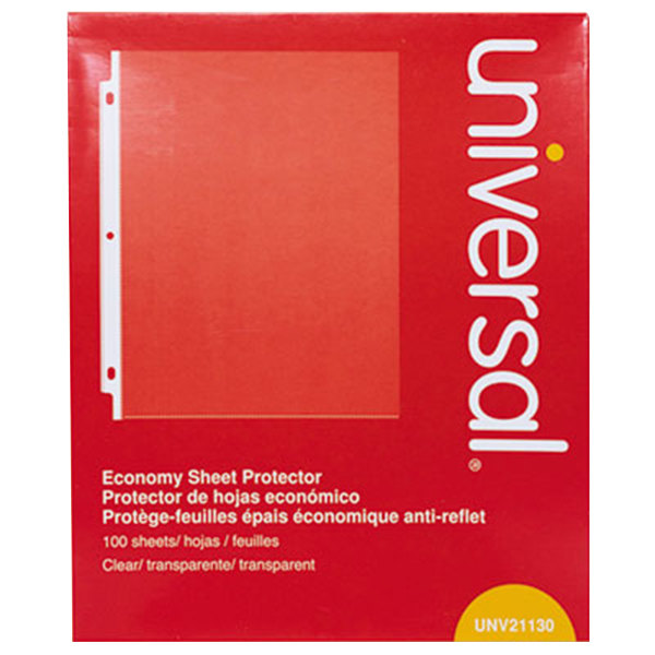 "Universal UNV21130 8 1/2"" x 11"" Clear Economy Weight Top-Load Sheet Protector, Letter - 100/Pack"