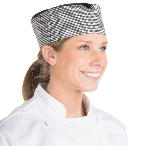 Black Pill Box Style Chef Hat Elastic Closure Regular Size