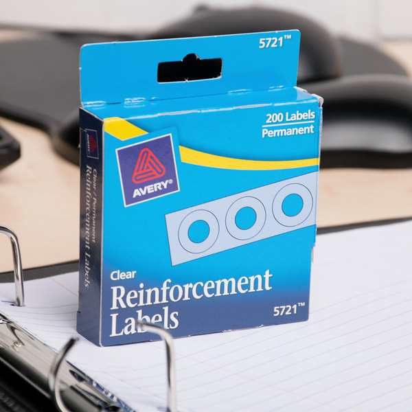 "Avery 5721 1/4"" Clear Hole Reinforcement Label with Dispenser - 200/Pack"