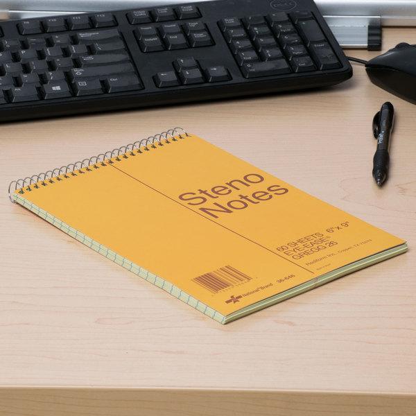 "National 36646 6"" x 9"" Brown Gregg Rule Standard Spiral Steno Book - 60 Sheet Main Image 6"