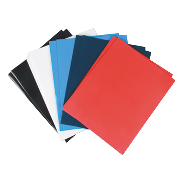 Universal UNV56426 Letter Size 2-Pocket Laminated Paper Pocket Folder, Assorted Color - 25/Box Main Image 1