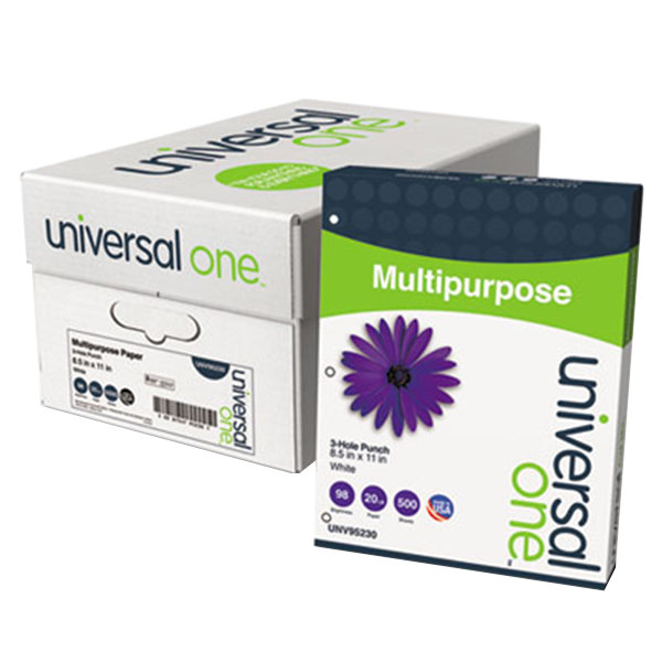 """Universal Office UNV95230 8 1/2"""" x 11"""" Bright White Case of 20# Multipurpose Paper - 5000 Sheets"""