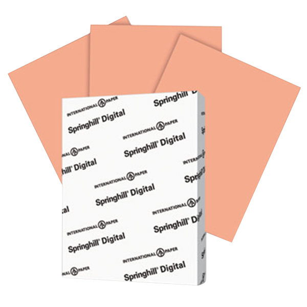 "International Paper 085300 Springhill Digital 8 1/2"" x 11"" Salmon Pack of 110# Smooth Index Paper Cardstock - 250 Sheets"