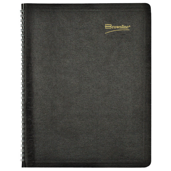 """Brownline CB1262BLK 8 1/2"""" x 11"""" Black December 2019 - January 2021 Essential Collection 14-Month Planner"""
