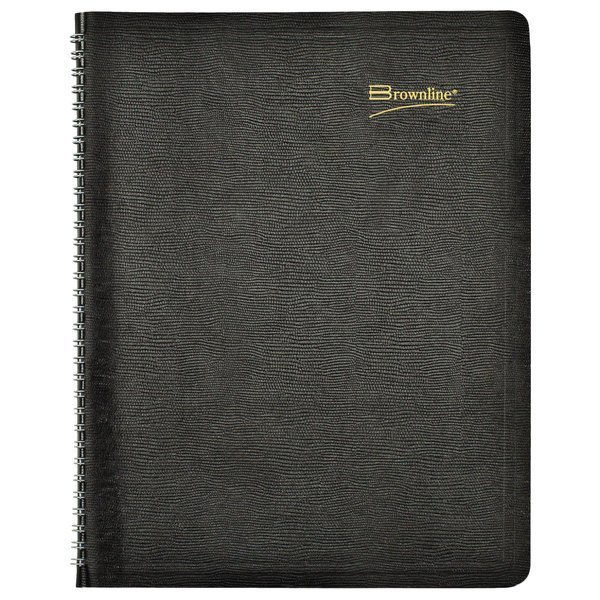 """Brownline CB1262BLK 8 1/2"""" x 11"""" Black December 2020 - January 2022 Essential Collection 14-Month Planner Main Image 1"""