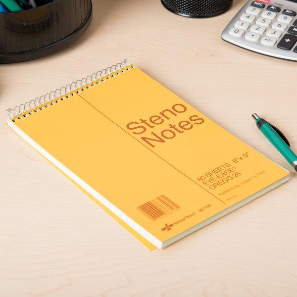 "Rediform Office 36746 6"" x 9"" Green Gregg Rule Standard Spiral Steno Book - 80 Sheets"