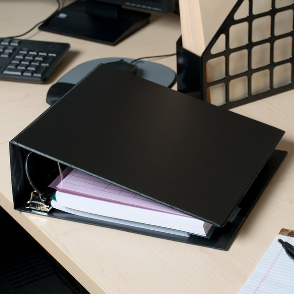 """Universal UNV20706 Black Non-View Binder with 4"""" Slant Rings and Spine Label Holder"""