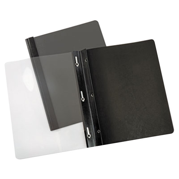 """Universal Office UNV56116 11"""" x 8 1/2"""" Black Paper Report Cover with Clear Cover and Prong Fasteners, Letter - 25/Box"""