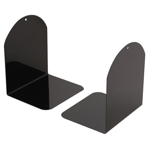 """Universal UNV54071 6"""" x 5"""" x 7"""" Black Metal Magnetic Bookends"""