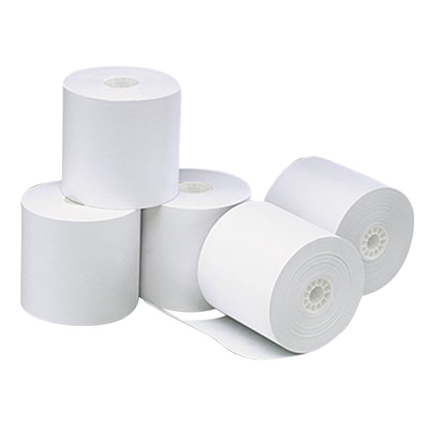"Universal Office UNV35764 3 1/8"" x 273' White 1-Ply Cash Register and Point of Sale 12# Thermal Paper Roll - 50/Case"