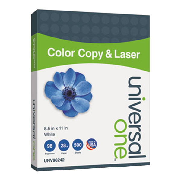 """Universal Office UNV96242 8 1/2"""" x 11"""" White Ream of 28# Copier and Laser Paper - 500 Sheets Main Image 1"""