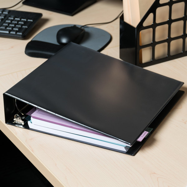 """Universal UNV20981 Black Economy Non-Stick View Binder with 2"""" Round Rings Main Image 11"""