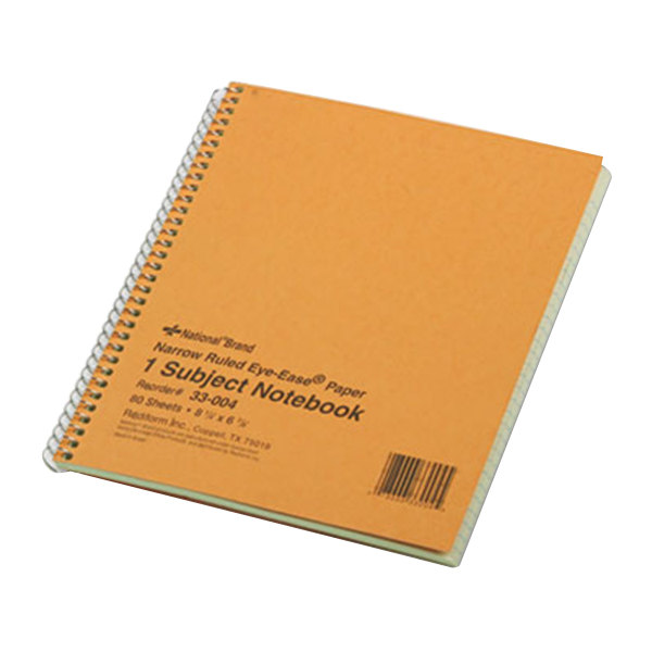 """National 33004 8 1/4"""" x 6 7/8"""" Narrow Rule 1 Subject Green Tint Wirebound Notebook - 80 Sheets Main Image 1"""