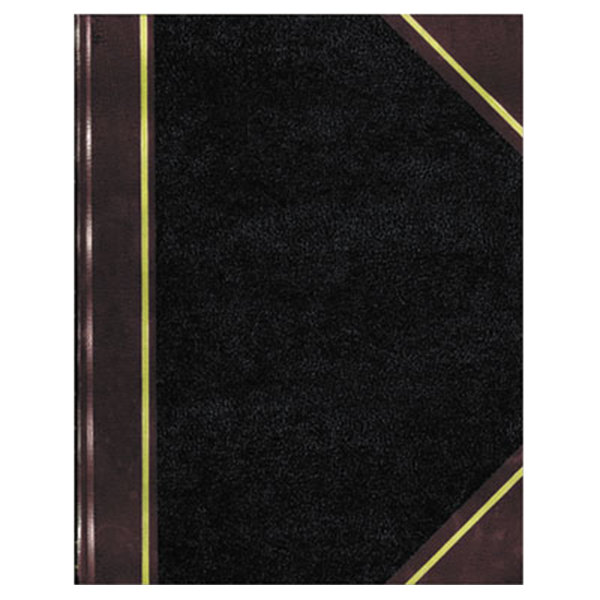 "National 57151 14 1/4"" x 8 3/4"" Black Texthide Record Book with 500 Pages"