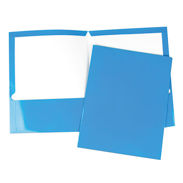 Universal UNV56419 Letter Size 2-Pocket Laminated Paper Pocket Folder, Blue - 25/Box Main Image 1