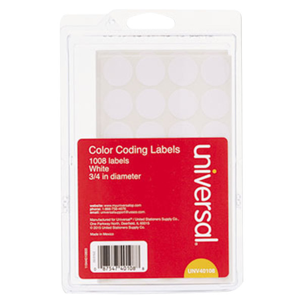"""Universal UNV40108 3/4"""" Round White Color Coding Labels - 1008/Pack Main Image 1"""
