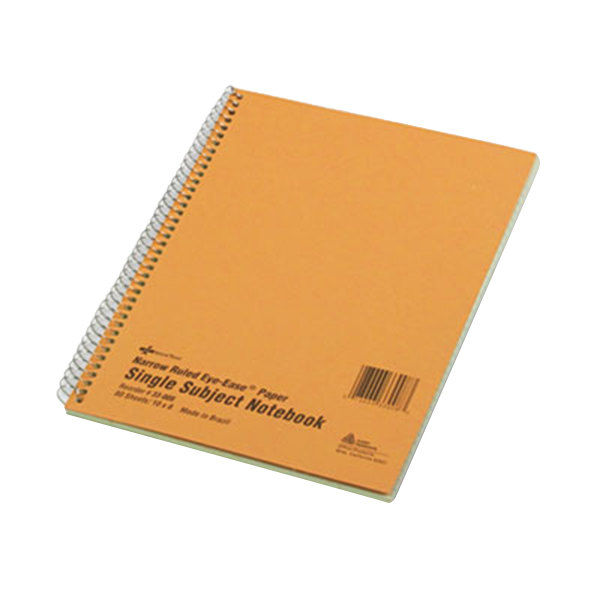 """National 33008 10"""" x 8"""" Narrow Rule 1 Subject Green Tint Wirebound Notebook - 80 Sheets Main Image 1"""