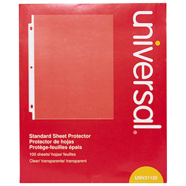"Universal UNV21125 8 1/2"" x 11"" Clear Standard Weight Top-Load Sheet Protector, Letter - 100/Pack"