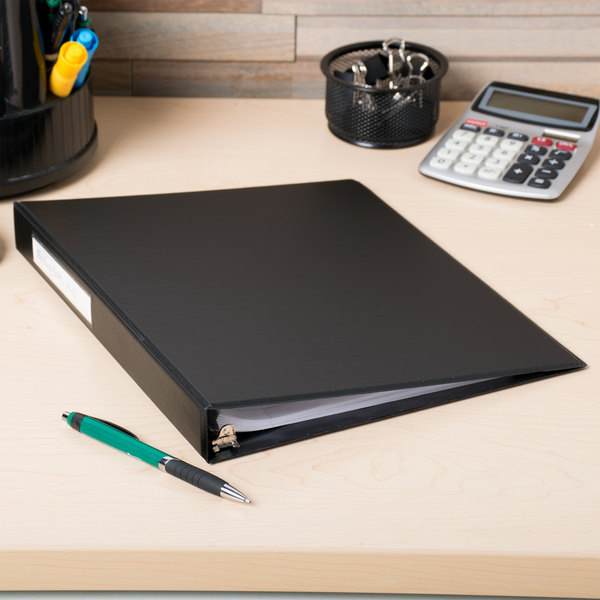 """Universal UNV31411 Black Economy Non-Stick Non-View Binder with 1"""" Round Rings and Spine Label Holder"""