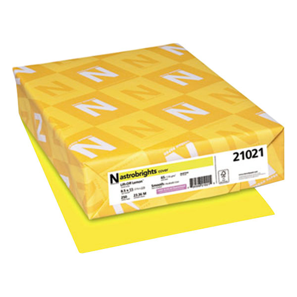 """Neenah WAU21021 Astrobrights 8 1/2"""" x 11"""" Lift-Off Lemon Pack of 65# Smooth Color Paper Cardstock- 250 Sheets Main Image 1"""