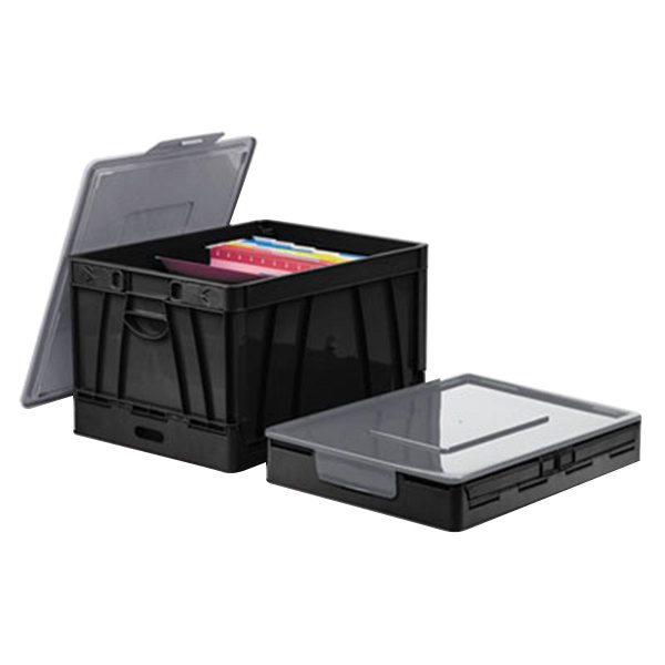 "Universal UNV40010 17 1/4"" x 14 1/4"" x 10 1/2"" Black Letter/Legal Sized Collapsible Plastic Crate with Gray Lift-Off Lid"