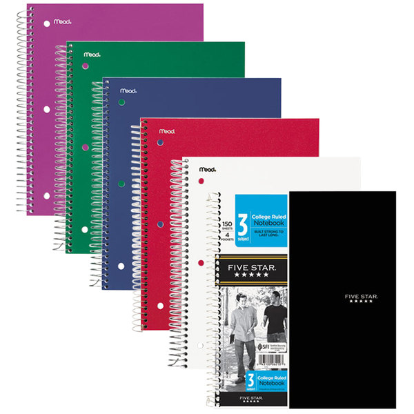 Five Star 06210 Assorted Color College Rule 3 Subject Wirebound Notebook, Letter - 150 Sheets