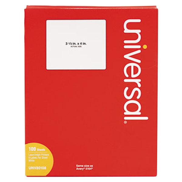 "Universal UNV80108 3 1/3"" x 4"" White Permanent Labels - 600/Box Main Image 1"
