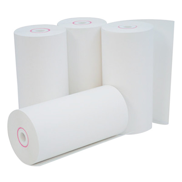 "Universal Office UNV35765 4 3/8"" x 127' White 1-Ply Cash Register and Point of Sale 12# Thermal Paper Roll - 50/Case"