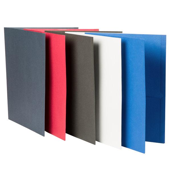 Universal UNV56613 Letter Size 2-Pocket Embossed Paper Pocket Folder, Assorted Color - 25/Box
