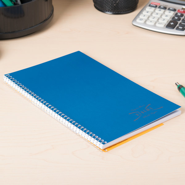 """National 33560 9 1/2"""" x 6"""" Blue College Rule 1 Subject Wirebound Notebook - 80 Sheets"""