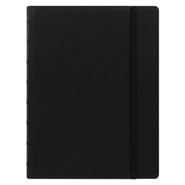 "Filofax B115007U 8 1/4"" x 5 13/16"" Black Cover College Rule 1 Subject Notebook - 112 Sheets"