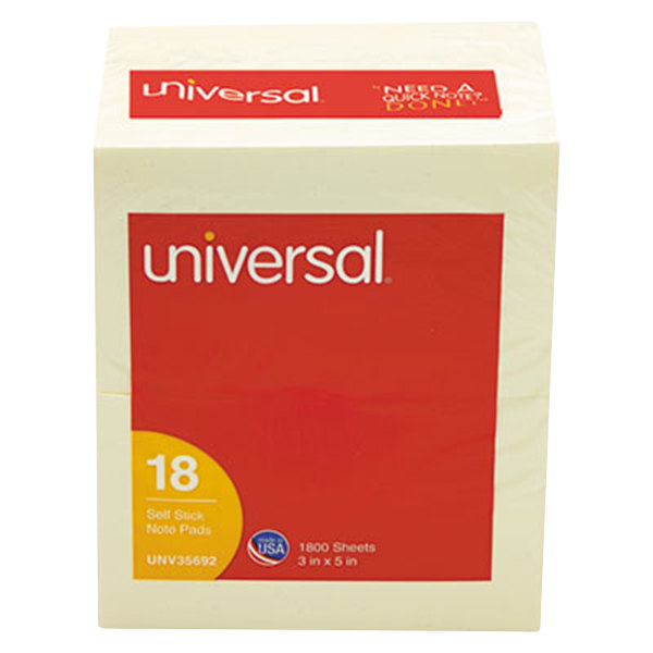 "Universal UNV35692 3"" x 5"" Yellow Self-Stick Note - 18/Pack Main Image 1"
