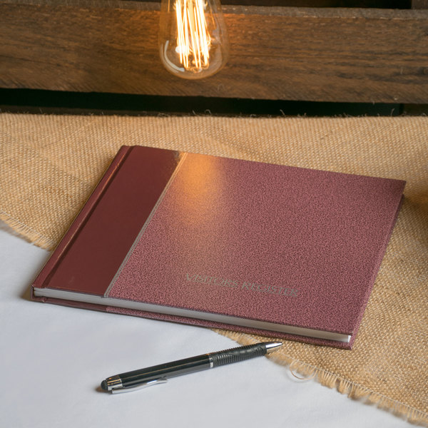 """Rediform 57803 8 1/2"""" x 9 7/8"""" Burgundy Hardcover Visitor Register Book with 128 Pages Main Image 7"""
