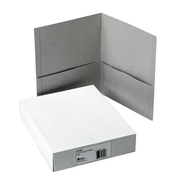 Avery 47990 Letter Size 2-Pocket Paper Folder, Gray - 25/Box Main Image 1