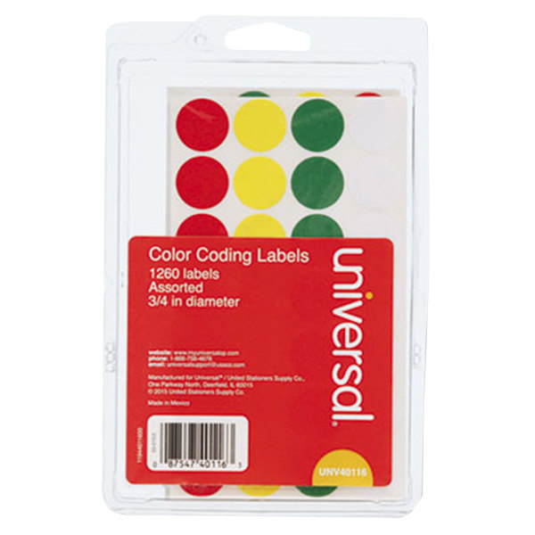 """Universal UNV40116 3/4"""" Round Assorted Color Coding Labels - 1260/Pack"""