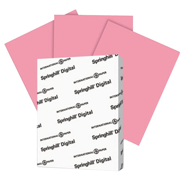 "International Paper 075100 Springhill Digital 8 1/2"" x 11"" Cherry Pack of 90# Smooth Index Paper Cardstock - 250 Sheets"