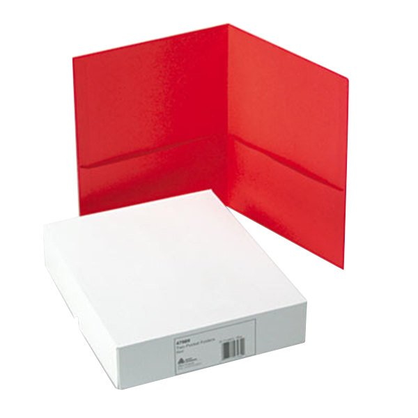 Avery 47989 Letter Size 2-Pocket Paper Folder, Red - 25/Box Main Image 1