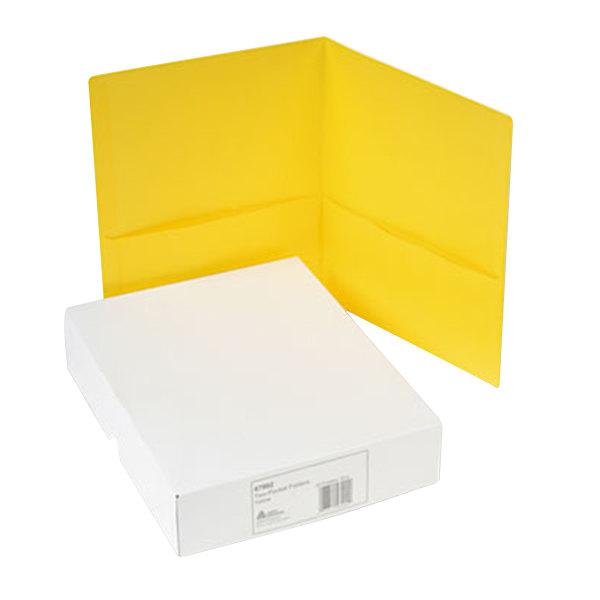 Avery 47992 Letter Size 2-Pocket Paper Folder, Yellow - 25/Box Main Image 1