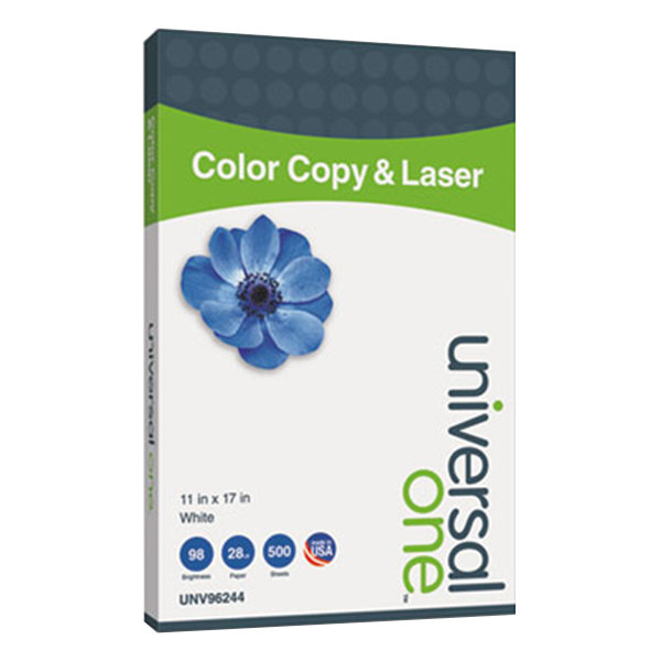 """Universal Office UNV96244 11"""" x 17"""" White Ream of 28# Copier and Laser Paper - 500 Sheets"""