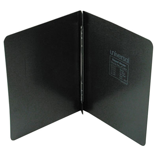 "Universal Office UNV80571 11"" x 8 1/2"" Black Pressboard Report Cover with Prong Fastener, Letter"