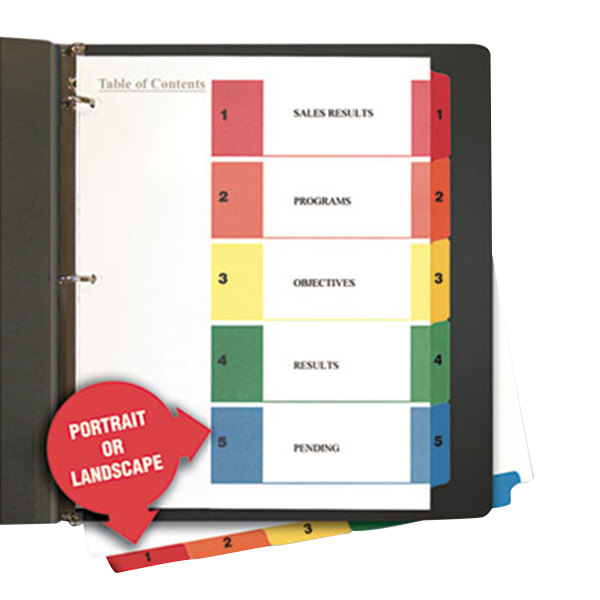 Universal UNV24800 Multi-Color 5-Tab Table of Contents Divider Set - 6/Pack