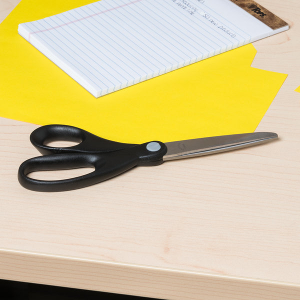 """Universal UNV92009 8"""" Stainless Steel Economy Scissors with Black Straight Handle"""