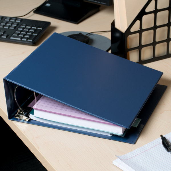 """Universal UNV20705 Royal Blue Non-View Binder with 4"""" Slant Rings and Spine Label Holder Main Image 11"""