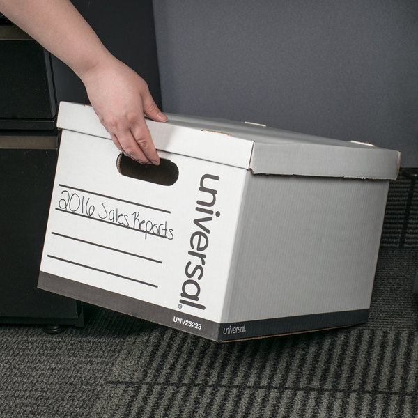 """Universal UNV25223 15"""" x 12"""" x 9 7/8"""" White Economy Corrugated Paper General Storage Box with Lift-Off Lid - 10/Case"""
