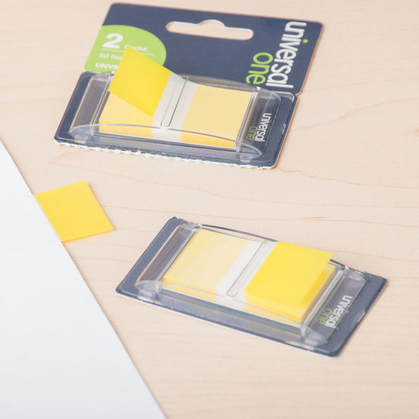 """Universal UNV99006 1"""" x 1 3/4"""" Yellow Page Flag with Dispenser - 2/Pack"""