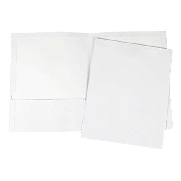 Universal UNV56417 Letter Size 2-Pocket Laminated Paper Pocket Folder, White - 25/Box Main Image 1