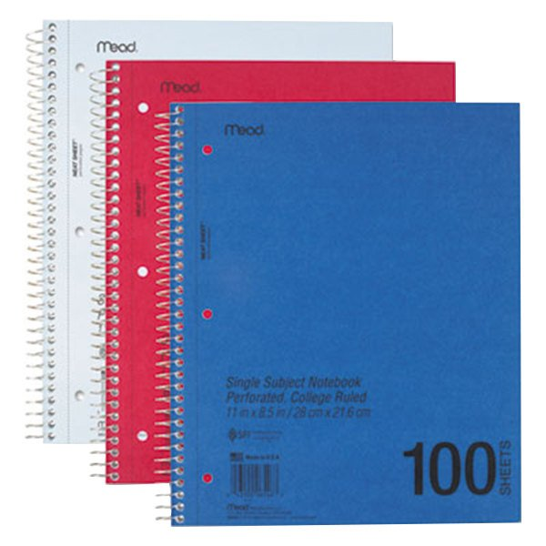 "Mead 06546 8 1/2"" x 11"" Assorted Color College Rule 1 Subject DuraPress Cover Notebook - 100 Sheets"