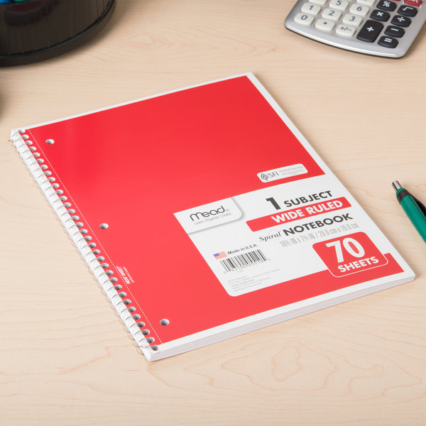 """Mead 05510 7 1/2"""" x 10 1/2"""" Assorted Color Legal Rule 1 Subject Spiral Bound Notebook - 70 Sheets Main Image 6"""