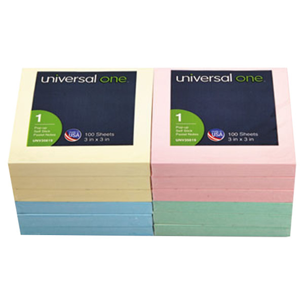 """Universal UNV35619 3"""" x 3"""" Assorted Pastel Color Fan-Folded Pop-Up Note - 12/Pack"""